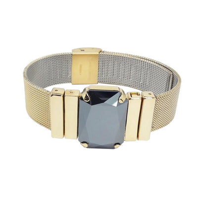 "Midnight Jet Men's Bracelet & ""Milanese Mesh"" Golden Metal Strap"