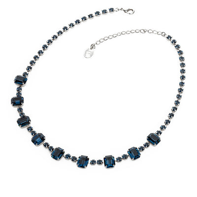 Necklace with Swarovski  code 1020 Montana blue stones