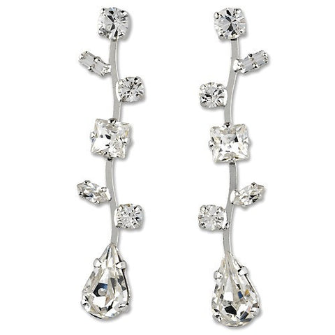 Earrings with Swarovski code 3083 Crystal white stones