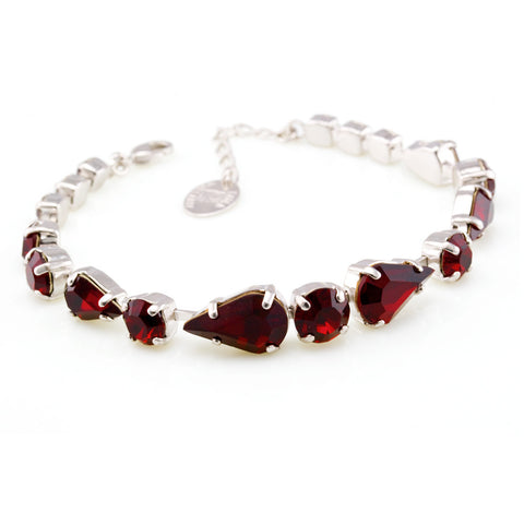Bracelet with Swarovski  code 2065 Siam red stones