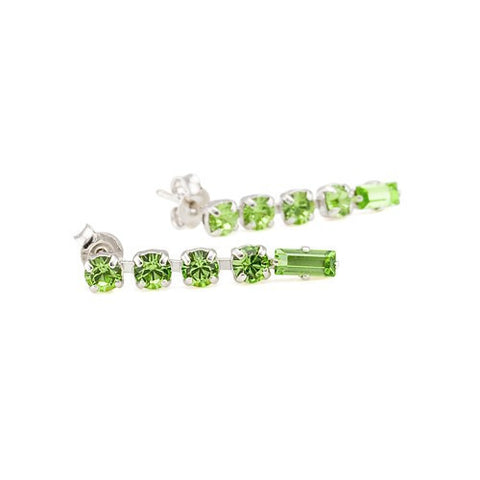 Earrings with Swarovski code 3031L Peridot green stones