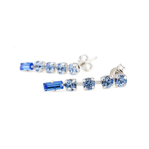 Earrings with Swarovski code 3031L Saphire blue stones