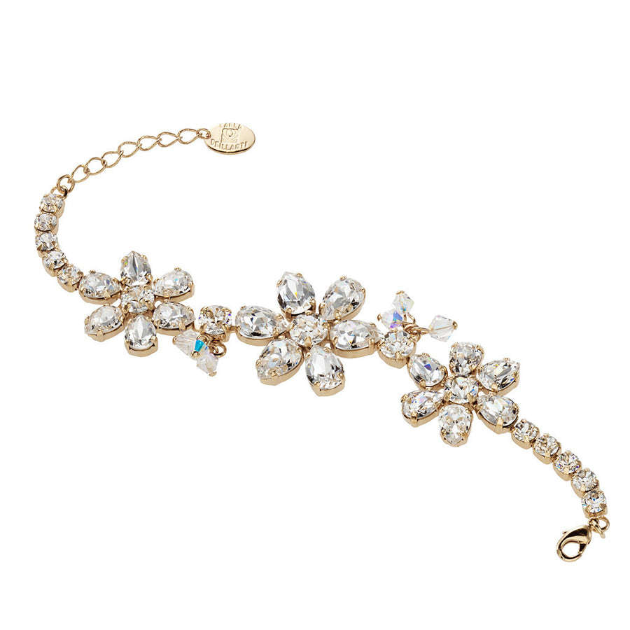 Bracelet with Swarovski  code 2185 Crystal white stones gold plating