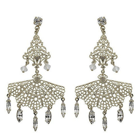 Earrings with Swarovski code 3183 Crystal white stones gold plating