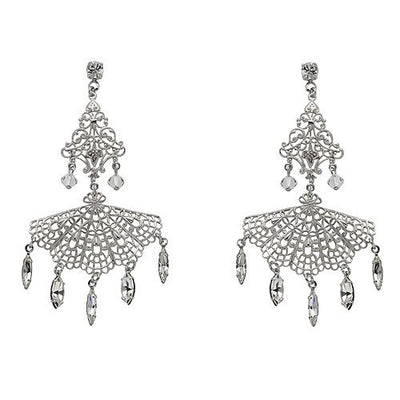 Earrings with Swarovski code 3183 Crystal white stones