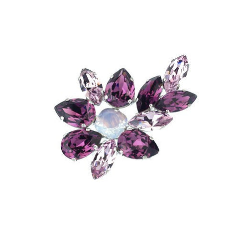 Brooches with Swarovski stones Amethyst color code 5049