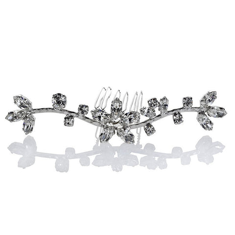 Bridal Hair Ornament with Swarovski 8176 Crystal white stones