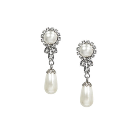 Earrings with Swarovski Flower Pearl