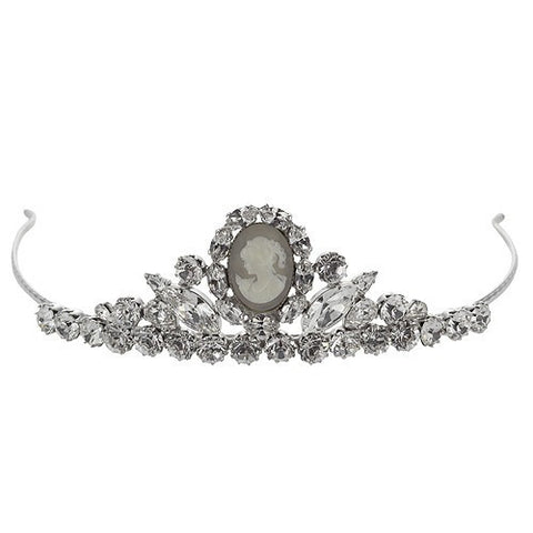 Bridal tiara with Swarovski  code 8193 Crystal white stones & Camee