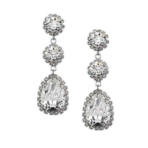 Earrings with Swarovski Crystal white stones Tear