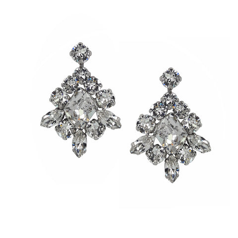 Earrings with Swarovski Viktoria Crystal white stones