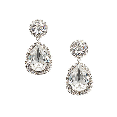 Earrings with Swarovski code 3563 Crystal white stones