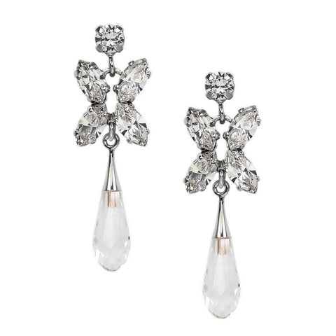 Earrings with Swarovski Crystal white stones Drop