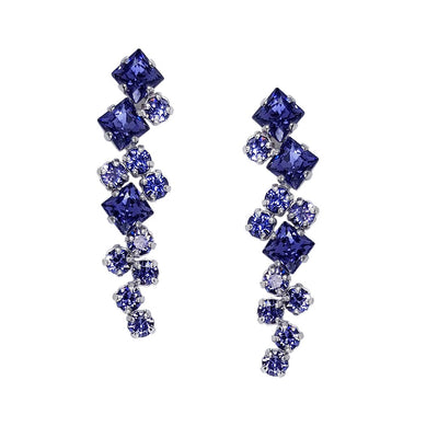 Long Fashion Earrings with Purple Swarovski Crystal Front Image