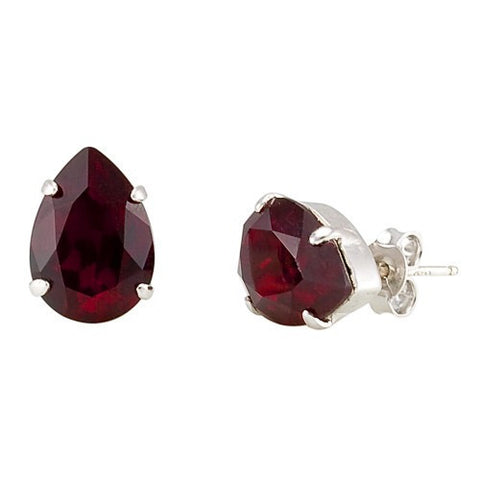Earrings with Swarovski code 3048 Siam red stones