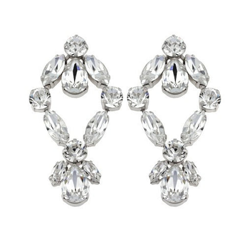 Earrings with Swarovski code 3035 Crystal white stones