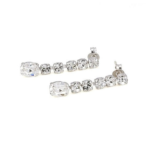 Earrings with Swarovski code 3062L Crystal white stones
