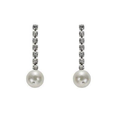 Earrings with Swarovski code 3326 Crystal white stones & Pearl