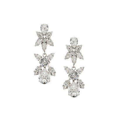Earrings with Swarovski code 3199L Crystal white stones