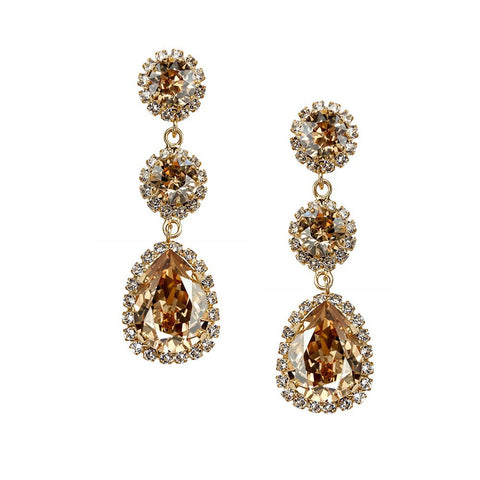 Earrings with Swarovski code 3529 Golden Shadow