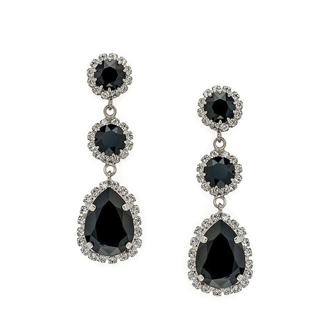 Earrings with Swarovski Black Tear