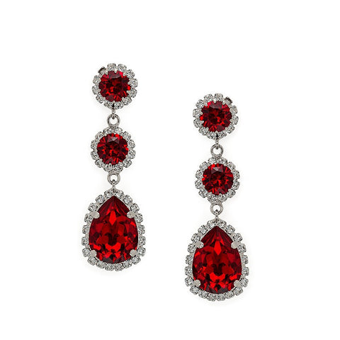 Earrings with Swarovski code 3529 Siam red stones