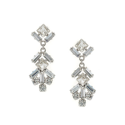 Earrings with Swarovski code 3538 Crystal white stones