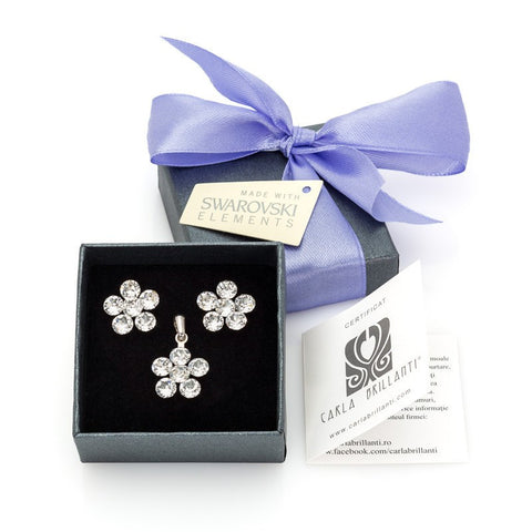 gift jewellery set with Swarovski stones Ambra
