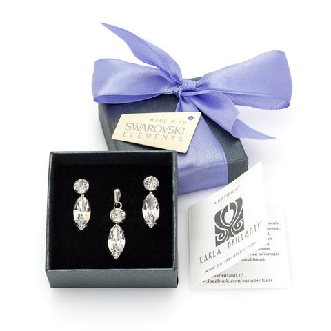 gift jewellery set with Swarovski stones Caroline
