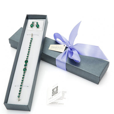 gift jewellery set with Swarovski stones Emerald