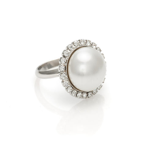 Ring code 7202 with Swarovski White Pearl cabochon
