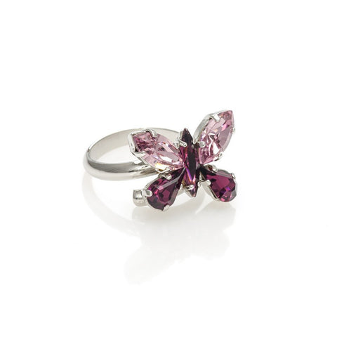 Ring code 7104 with butterfly  Amethyst swarovski stones