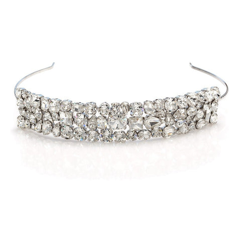 Bridal tiara with Swarovski  code 8216 Crystal white stones