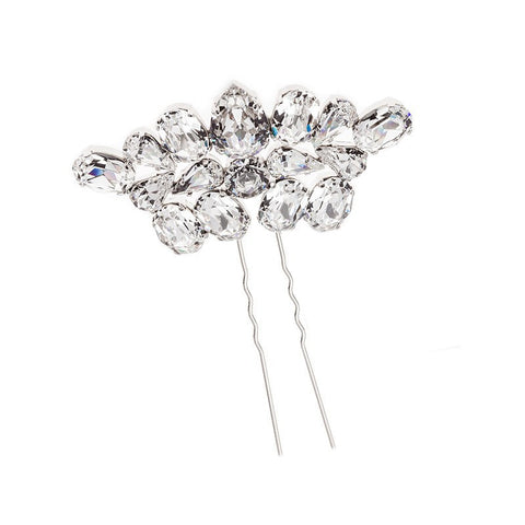 Bridal Hair Ornament with Swarovski 8162 Crystal white stones