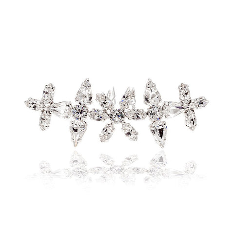 Bridal Hair Ornament with Swarovski 8013CE Crystal white stones