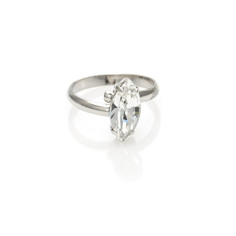 Ring with marquise Crystal white stones code 7024