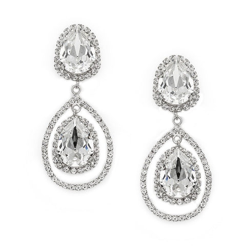 Earrings with Swarovski code 3546S Crystal white stones