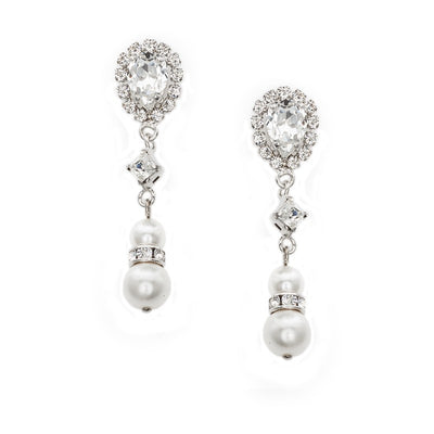 Earrings with Swarovski code 3356 Crystal white stones