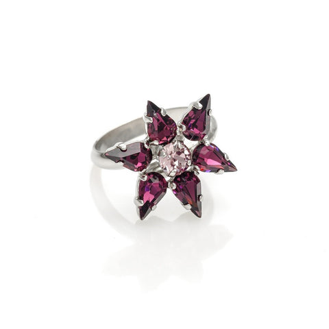 Ring code 71991 teared swarovski stones Amethyst