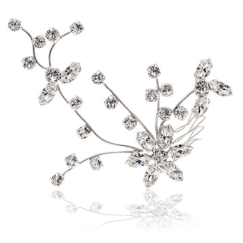 Bridal Hair Ornament with Swarovski 8011CE Crystal white stones