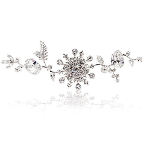 Bridal Hair Ornament with Swarovski 8165 Crystal white stones