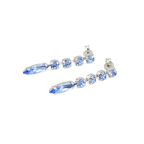 Earrings with Swarovski code 3063L Light Saphire blue stones