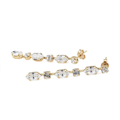 Earrings with Swarovski code 3079 Crystal white stones gold plating