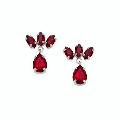 Earrings with Swarovski code 3136 Siam red stones