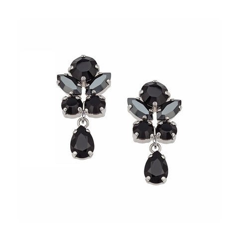 Earrings with Swarovski black stones
