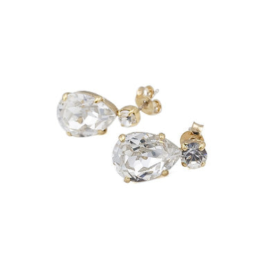 Earrings with Swarovski code 3082 Crystal white stones gold plating