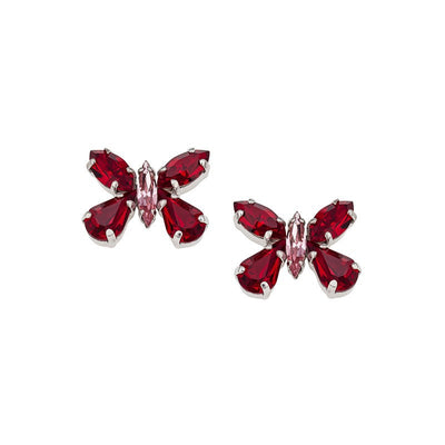 Earrings with Swarovski code 3155S Siam red stones
