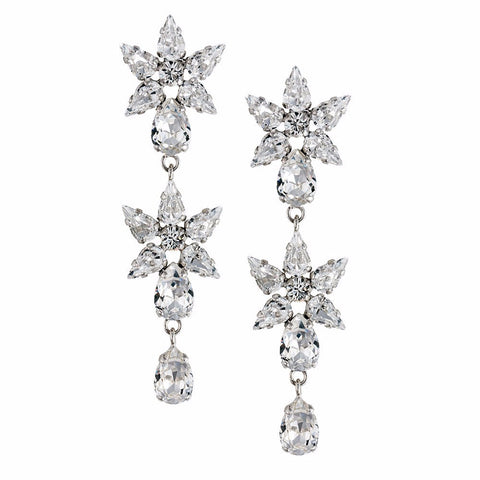 Earrings with Swarovski code 3561 Crystal white stones