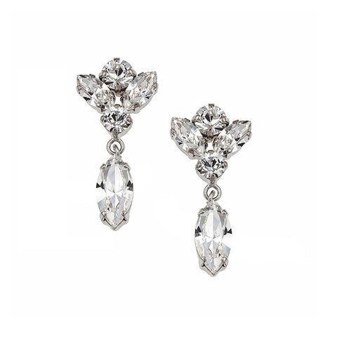 Earrings with Swarovski code 3501 Crystal white stones