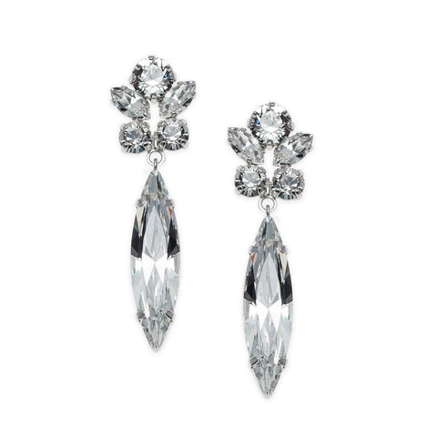 Earrings with Swarovski code 3524 Crystal white stones